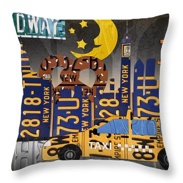New York City Nyc The Big Apple License Plate Art Collage No 2 Throw Pillow