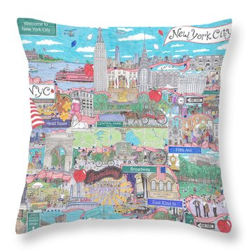 New York City On A Sunny Day Throw Pillow