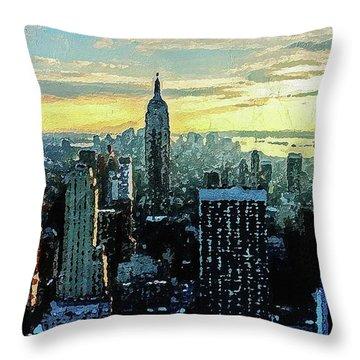 Throw Pillow featuring the digital art New York City by PixBreak Art