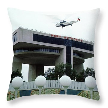 New York City Port Authority Helicopter Pad, New York World's Fa Throw Pillow by Photovault