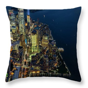 Throw Pillow featuring the photograph New York City Remembers 911 by Susan Candelario