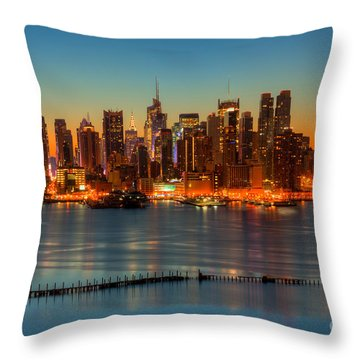 New York City Skyline Morning Twilight V Throw Pillow by Clarence Holmes