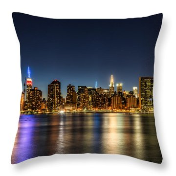 Throw Pillow featuring the photograph New York City Skyline by Rafael Quirindongo