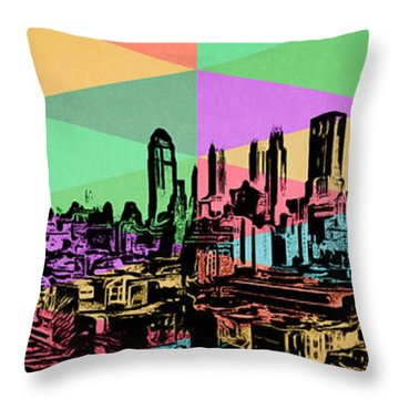 New York City Skyline Rainbow Throw Pillow by Edward Fielding