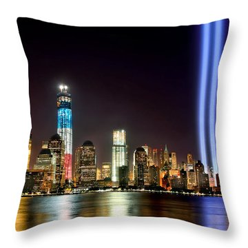 New York City Skyline Tribute In Lights And Lower Manhattan At Night Nyc Throw Pillow by Jon Holiday