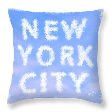Throw Pillow featuring the painting New York City Skywriting Typography by Georgeta Blanaru