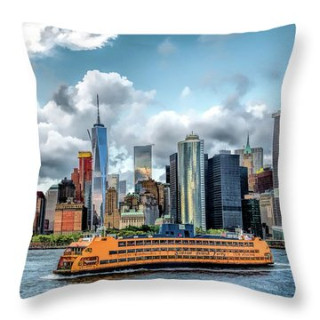 New York City Staten Island Ferry Throw Pillow