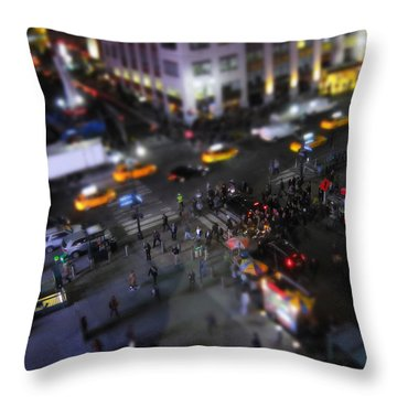 New York City Street Miniature Throw Pillow