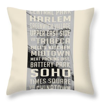 New York City Subway Stops Vintage Brooklyn Bridge Throw Pillow by Edward Fielding