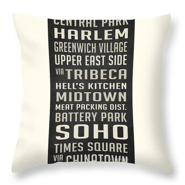 New York City Subway Stops Vintage Throw Pillow by Edward Fielding