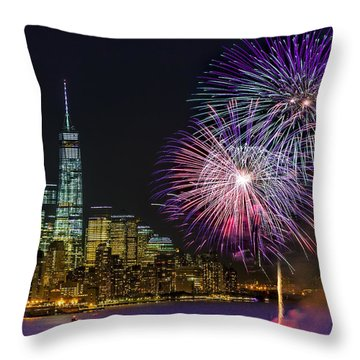New York City Summer Fireworks Throw Pillow