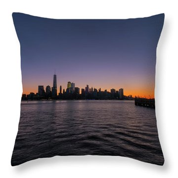 Throw Pillow featuring the photograph New York City Sunrise by Tom Singleton