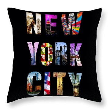 New York City Text On Black Throw Pillow