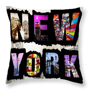 New York City Text Throw Pillow