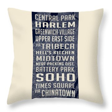 New York City Vintage Subway Stops With Map Throw Pillow by Edward Fielding