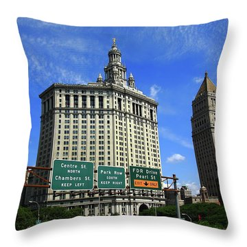 New York City With Local Traffic Signs Throw Pillow by Frank Romeo