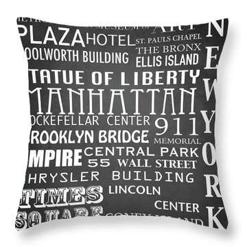 New York Famous Landmarks Throw Pillow