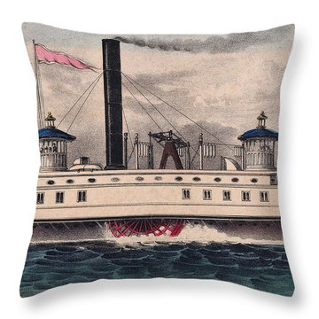 New York Ferry Boat Throw Pillow