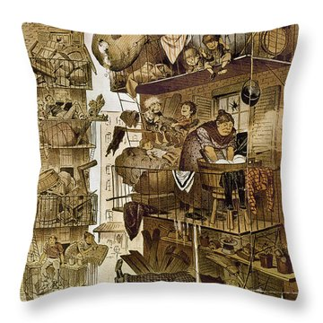 New York: Fire Escapes Throw Pillow by Granger