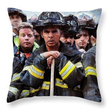Throw Pillow featuring the painting New York Firefighters After 9/11 by Kai Saarto