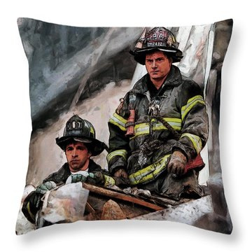 Throw Pillow featuring the painting New York Firefighters After 9/11 Part 2 by Kai Saarto