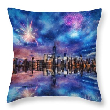 Throw Pillow featuring the photograph New York Fireworks by Ian Mitchell
