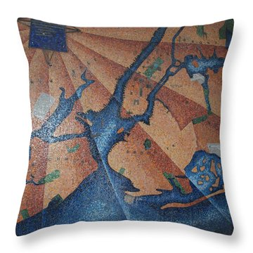 New York In Mosaic Throw Pillow by Rob Hans