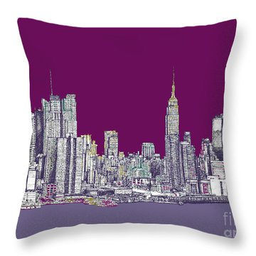 New York In Purple Throw Pillow by Adendorff Design