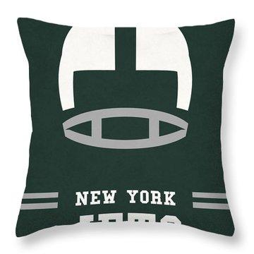 New York Jets Vintage Nfl Art Throw Pillow