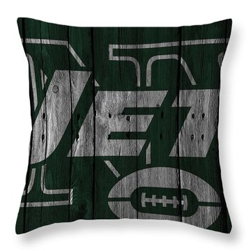 New York Jets Wood Fence Throw Pillow by Joe Hamilton