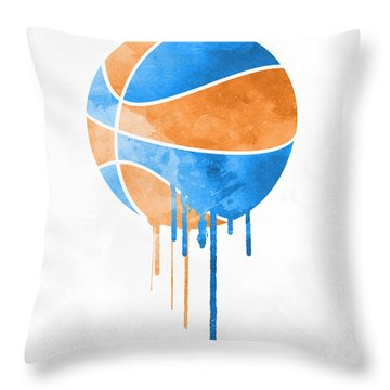 New York Knicks Dripping Water Colors Pixel Art Throw Pillow
