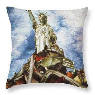New York Liberty 77 - Fantasy Art Painting Throw Pillow