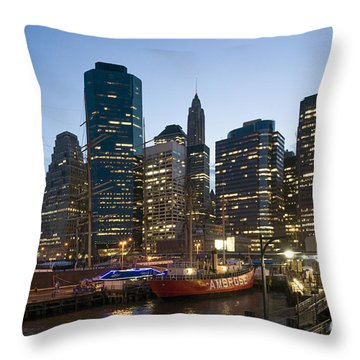 Throw Pillow featuring the photograph New York Manhattan Seaport by Juergen Held