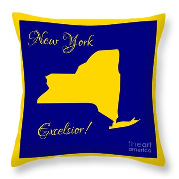 New York Map In State Colors Blue And Gold With State Motto Excelsior Throw Pillow by Rose Santuci-Sofranko