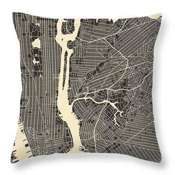 New York Map Throw Pillow by Jazzberry Blue