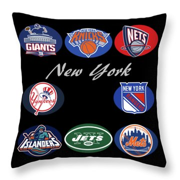New York Professional Sport Teams Collage  Throw Pillow