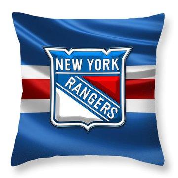 New York Rangers - 3d Badge Over Flag Throw Pillow