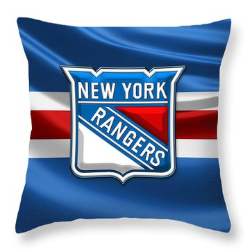 New York Rangers - 3d Badge Over Flag Throw Pillow