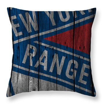 New York Rangers Wood Fence Throw Pillow