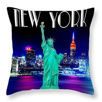 New York Shines Throw Pillow