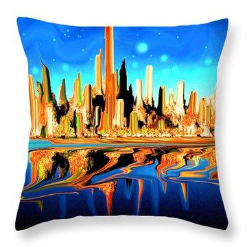 New York Skyline In Blue Orange - Modern Fantasy Art Throw Pillow