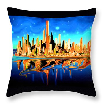 New York Skyline In Blue Orange - Modern Art Throw Pillow
