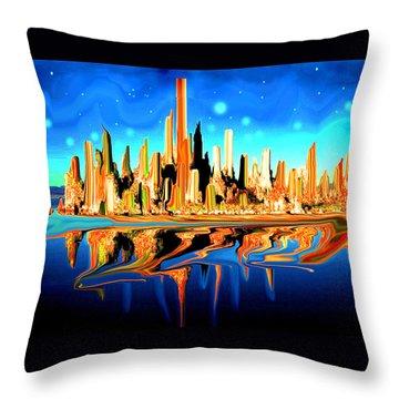 New York Skyline Blue Orange - Modern Art Throw Pillow