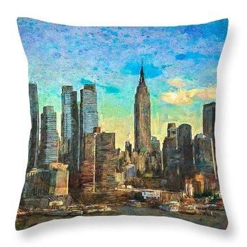 New York Skyline Throw Pillow