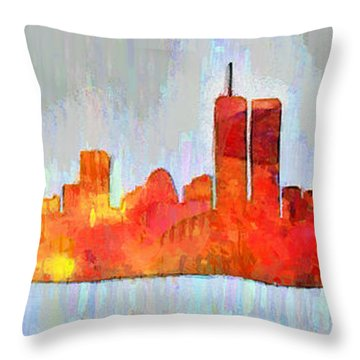New York Skyline Old Shapes 3 - Pa Throw Pillow