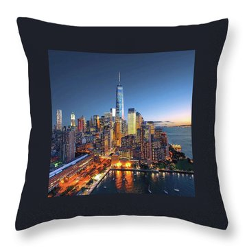 New York Skyline Sunset Throw Pillow