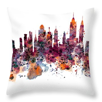 New York Skyline Watercolor Throw Pillow