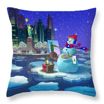 New York Snowman Throw Pillow by Michael Humphries