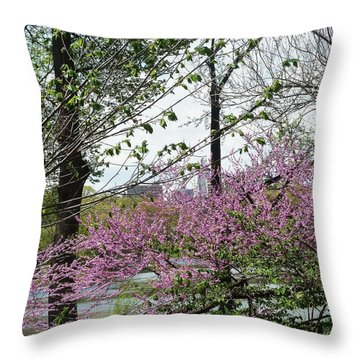 New York Spring Throw Pillow by Helen Haw