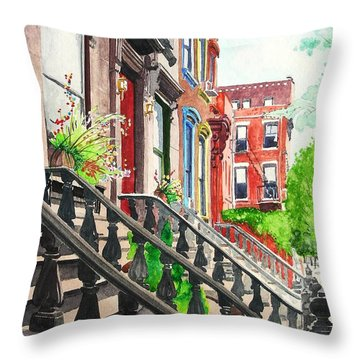 Throw Pillow featuring the painting New York Steps by Tom Riggs
